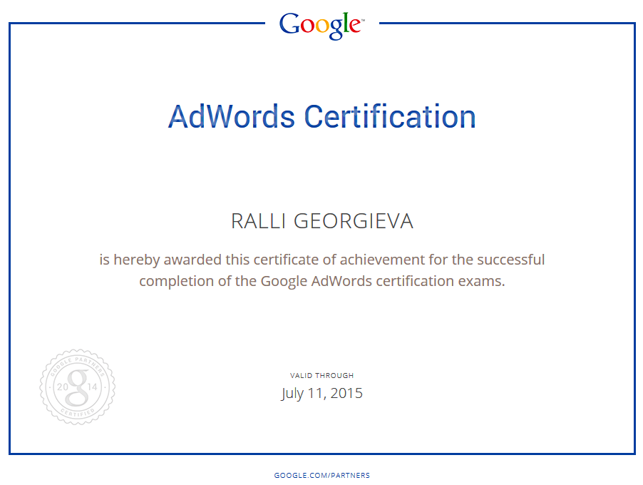 Certificate for passing the Google Adwords Exam