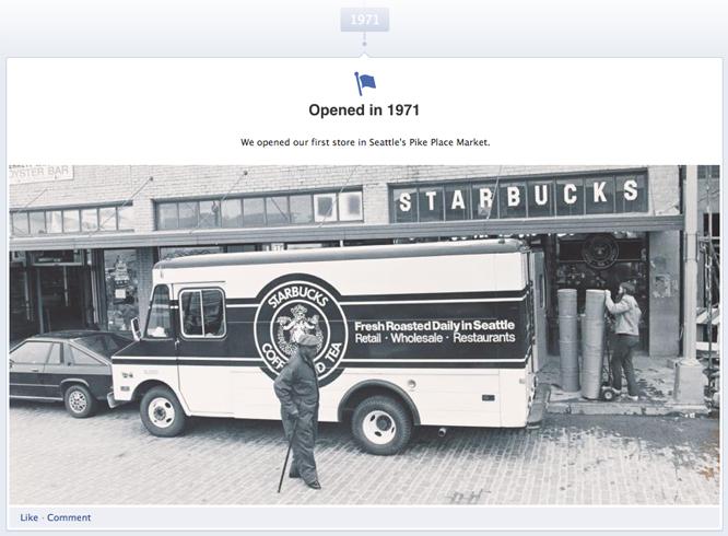 Facebook milestones example: Starbucks